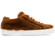 furry lace-up sneakers