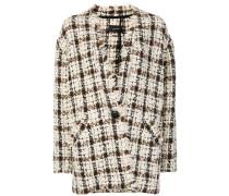 checked frayed trim coat