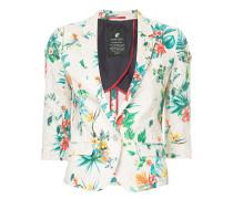 floral-print cropped-sleeve blazer