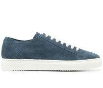 two-tone low-top suede sneakers