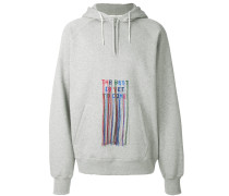 fringed embroidered slogan hoodie
