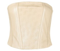 Schulterfreies Top aus Leder