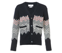 V-Neck Cardigan With Chevron Fair Isle In Navy Cashmere