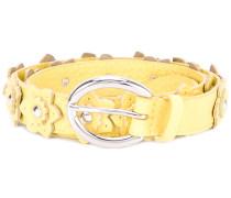 flower applique belt - women - Leder/Messing