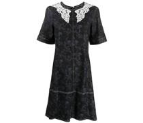 Geblümtes Kleid mit Spitzenborte