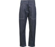 Cropped-Hose mit aufgesetzten Taschen