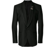 classic blazer with crowned bee appliqué