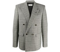 deconstructed check double-breasted blazer