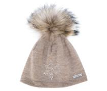 racoon fur pom pom hat