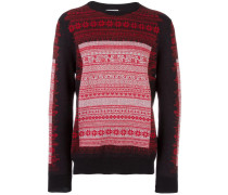 Intarsien-Pullover mit floralem Muster