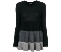 Pullover mit dreifarbigem Rüschen-Design