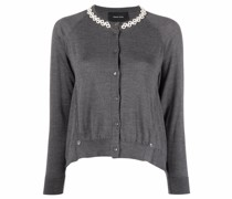 faux-pearl embellished knitted cardigan