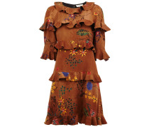 Volant-Kleid mit floraler Stickerei