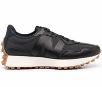 panelled leather trainers