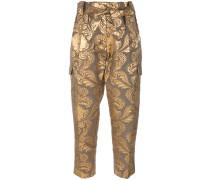 metallic jacquard trousers