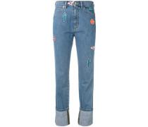 Gerade Jeans mit Patches - women - Baumwolle