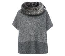 Oversized-Pullover mit Fuchspelzbesatz