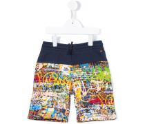 graffiti print shorts