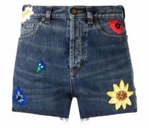 Jeansshorts mit Blumenstickerei