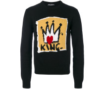 "Intarsien-Pullover mit ""King""-Motiv"