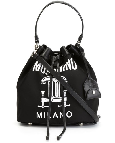 moschino damen beuteltasche mit cc motiv reduziert. Black Bedroom Furniture Sets. Home Design Ideas
