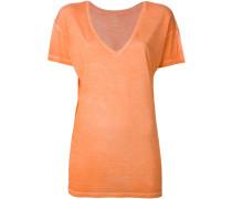 T-Shirt mit V-Ausschnitt aus Seide