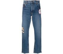 Gerade Jeans mit Wappen-Patch
