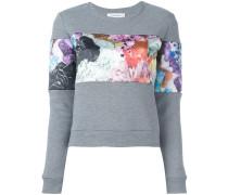 printed panel sweater
