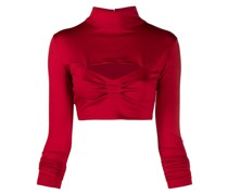 mock neck jersey cropped top