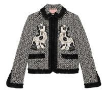 Tweed-Jacke mit Hund-Stickerei - women