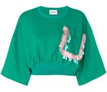 cropped embroidered pocket sweatshirt