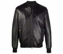 zip-up leather bomber jacket