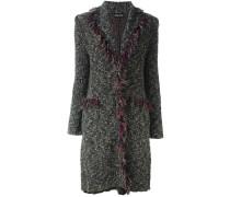 fringed bouclé knit coat