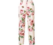 rose print brocade trousers