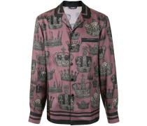 crown print pyjama shirt