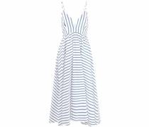Gestreiftes Kleid mit tiefem Ausschnitt