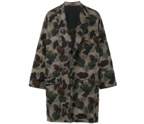 Oversized-Wollmantel mit Camouflage-Print