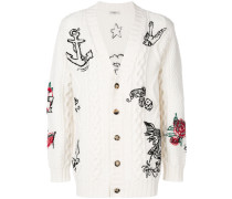Cardigan mit Tattoostickerei