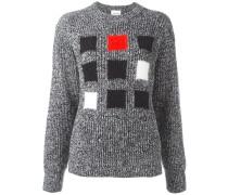 Intarsien-Pullover mit Quadraten