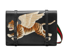 Leather messenger with tiger