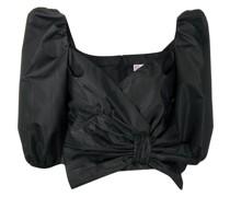 Cropped-Bluse mit Schleifenkragen