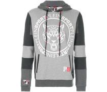 logo print panelled hoodie