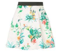 tropical-print flared mini skirt