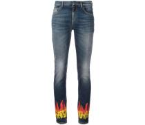 Skinny-Jeans mit Flammen-Print