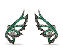18kt Weißgoldohrringe mit Diamanten und Smaragd