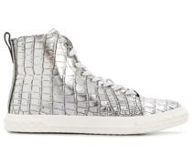 Metallic-Sneakers mit Kroko-Optik