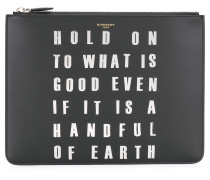 studded slogan clutch