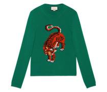 intarsia tiger jumper - men - Wolle - L