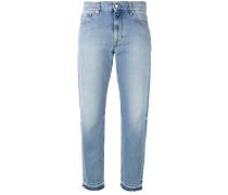 Ausgefranste Cropped-Jeans