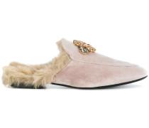 fur embellished mules
